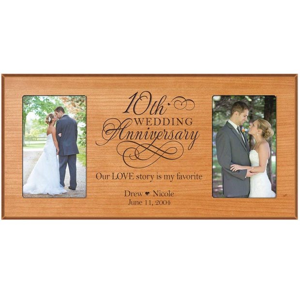 Custom 10th Anniversary Picture Frame - Cherry