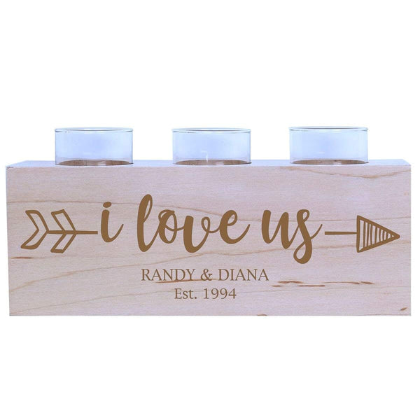 Personalized Anniversary Maple Candle Holders I Love Us