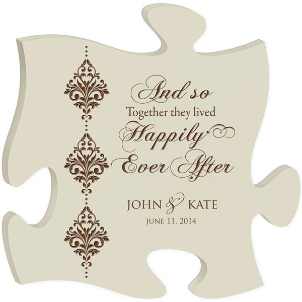 Personalized Custom Engraved Puzzle Sign - And So Together They Lived Happily Ever After