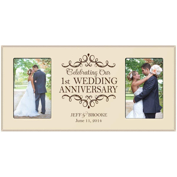 1st Anniversary Gift Personalized 1st wedding anniversary picture frame with Couples names and anniversary dates
