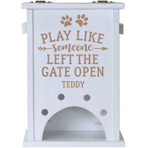 Personalized Pine Pet Toy Box - Play Like Someone White