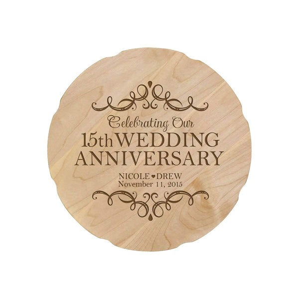 15th Wedding Anniversary.Personalized 15th Anniversary Maple Engraved Plates