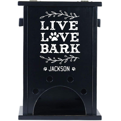 Personalized Pet Toy Box - Live Love Bark Black