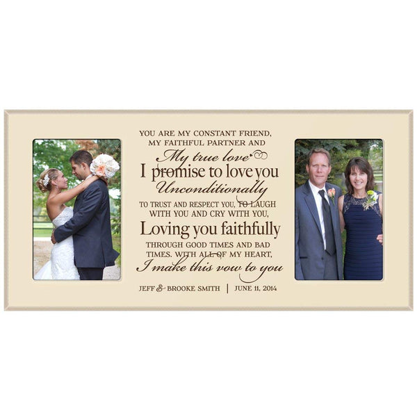 Wedding Gift Photo Frame for Bride and Groom Promise vow Exclusively from LifeSong Milestones (Ivory)