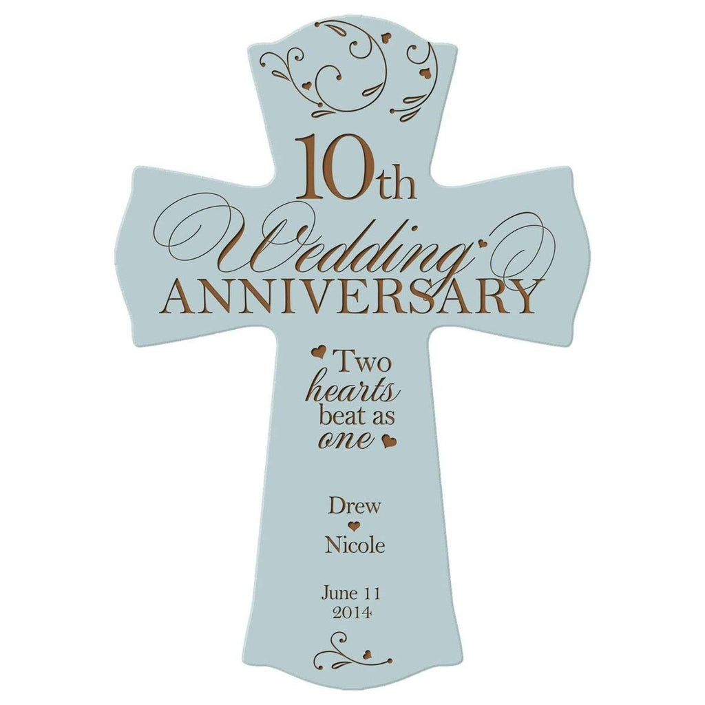 Personalized 10th Wedding Anniversary Wood Wall Cross Gift for ...