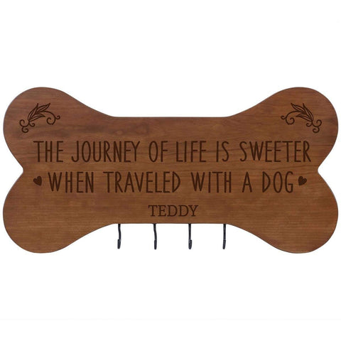 Personalized Dog Bone Sign With Hooks - The Journey Of Life Cherry