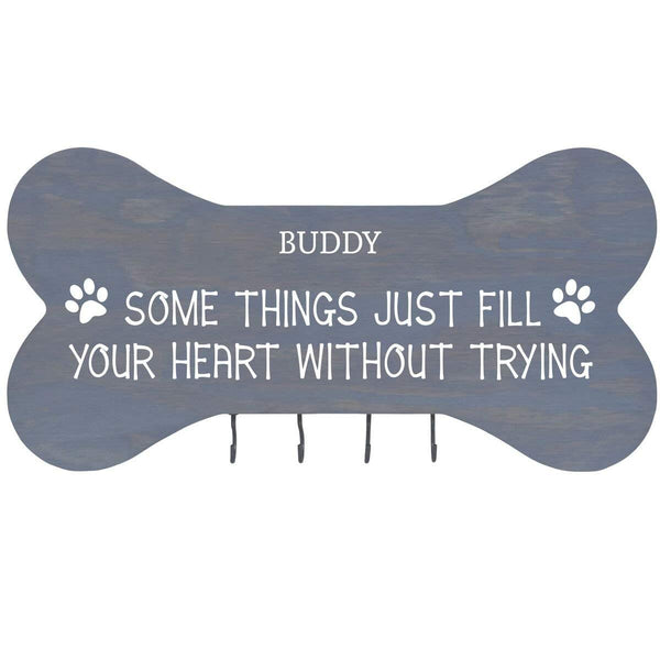 Personalized Dog Bone Sign With Hooks - Some Things Just Fill Classic Grey