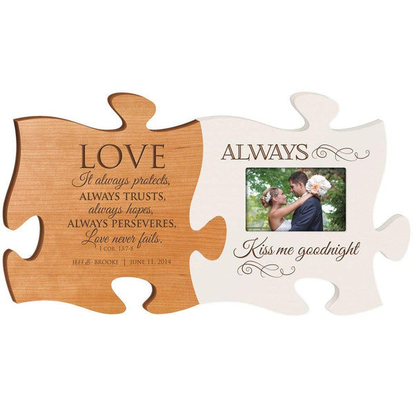 Personalized Wedding Picture Frame Puzzle Piece Sign Set Love Never Fails 1 Corinthians 13:7-8 - Always Kiss Me Goodnight Holds 4x6 Photo by LifeSong Milestones