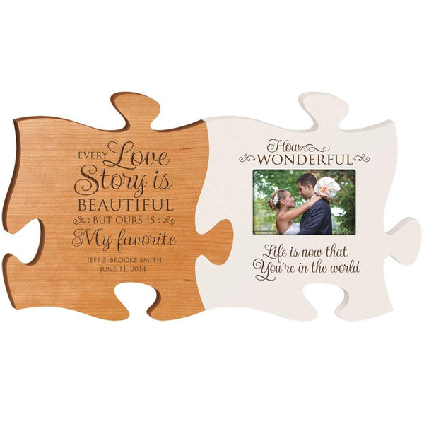 Personalized Wedding Picture Frame Puzzle Gift Every Love Story Is Beautiful but Ours Is My Favorite & How Wonderful Life Is Now That You Are in My World Holds 4x6 Photo