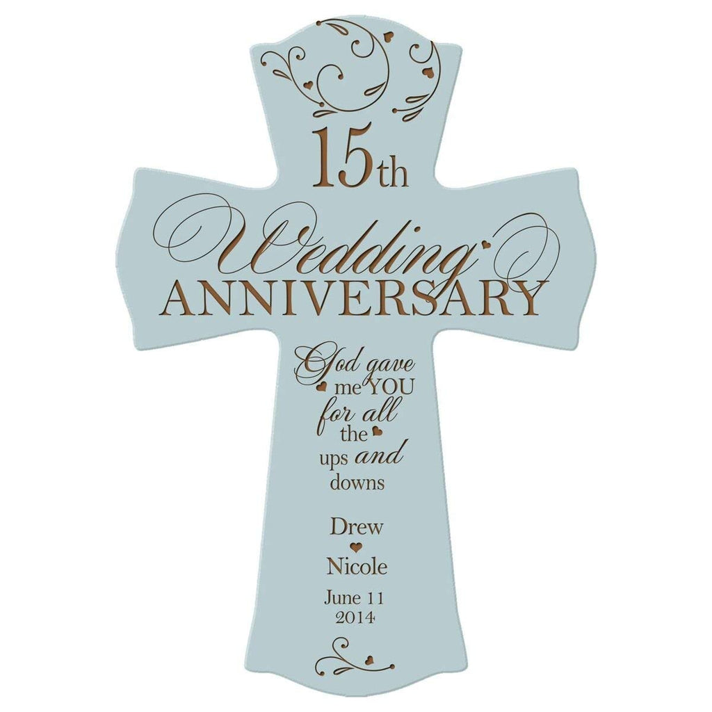 Personalized 15th Wedding Anniversary Wood Wall Cross Gift for ...