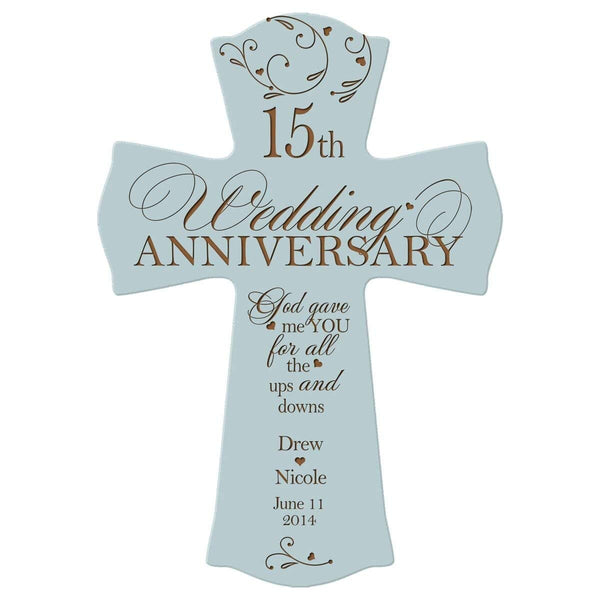 "Personalized 15th Wedding Anniversary Wood Wall Cross Gift for Couple 15 year Anniversary Gifts for Her, Anniversary Gifts for Him God Gave Me You for All the Ups and Downs (8.5"" x 11"")"
