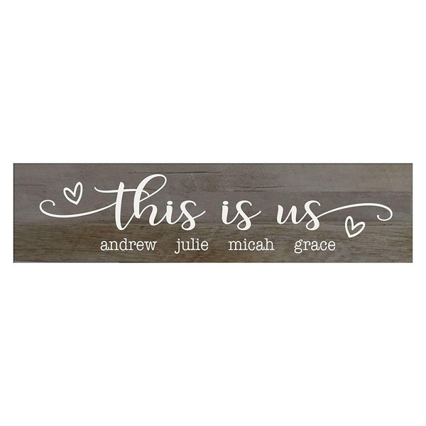 "LifeSong Milestones This Is Us Personalized Family Established Wall Signs, Last Name sign for home, Wedding, Anniversary, Living Room, Entryway 10"" H x 40"" L (Barnwood)"