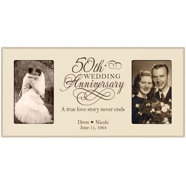 50th Wedding Anniversary Photo Frame (Black)