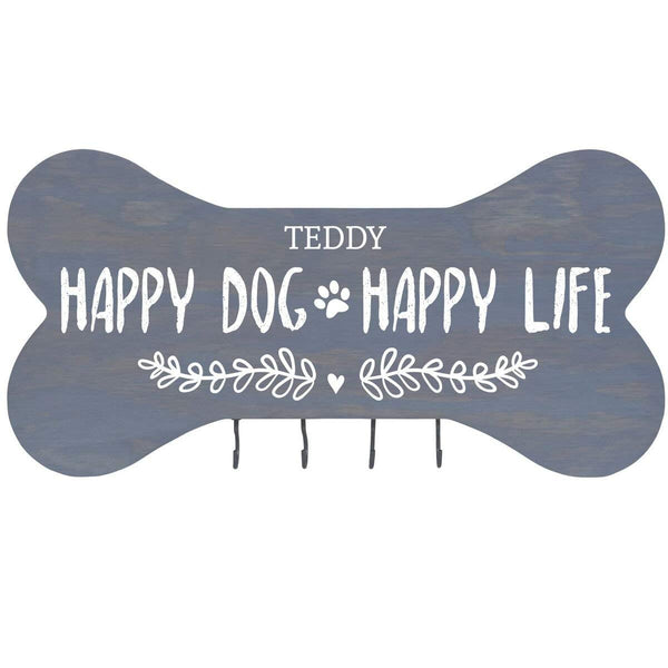 "Personalized Happy Dog Happy Life Wall Mounted Dog Bone Pet Leash Rack,Dog Collar Holder New Home Gift ideas and 4 hooks 16"" L x 8"" H 2.5."" deep by Rooms Organized (Classic Grey)"