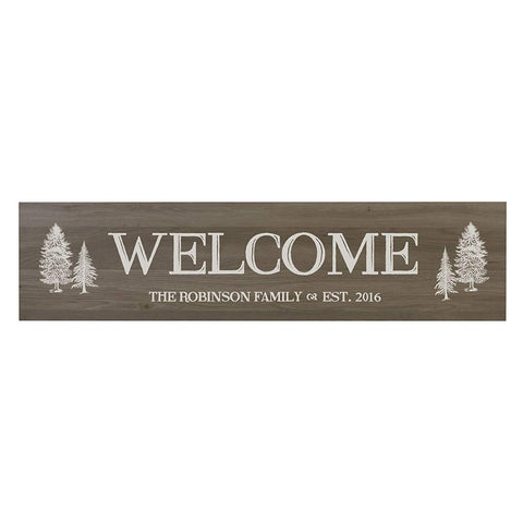Welcome Wooden Wall Sign with Tree Art Size 10 x 40
