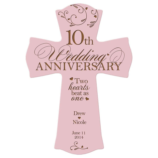 Personalized 10th Anniversary Engraved Wall Cross - Two Hearts Beat