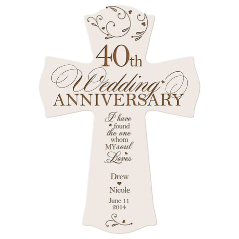 Personalized 40th Anniversary Veneer Wall Cross - My Soul Loves White
