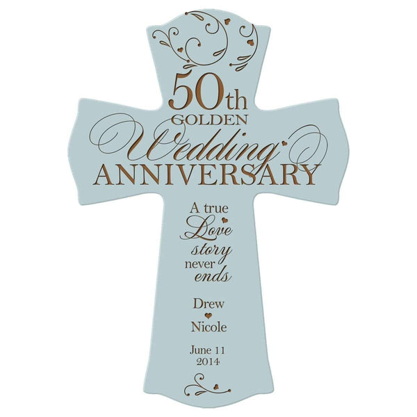 "Personalized 50th Wedding Anniversary Wood Wall Cross Gift for Couple 50 year Anniversary Gifts for Her, Anniversary Gifts for Him A True Love Story Never Ends (8.5"" x 11"")"