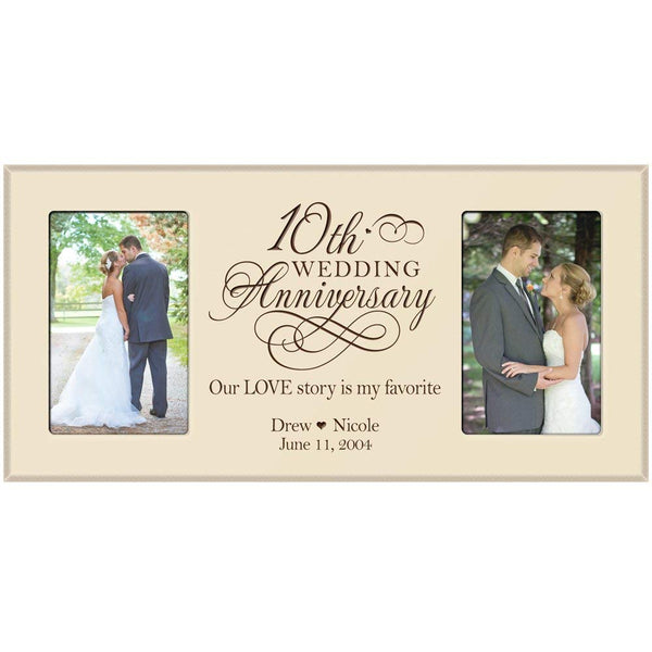 10th Anniversary Gift Personalized Picture Frame with Couples names and anniversary dates (Black)