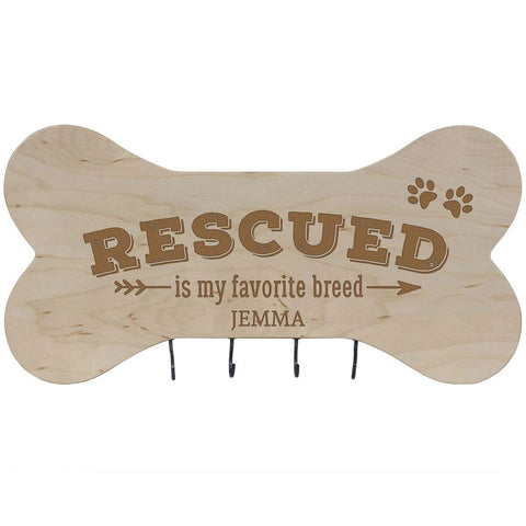 Personalized Dog Bone Sign With Hooks - Rescued Is My Favorite Maple
