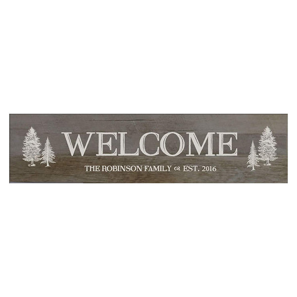 "LifeSong Milestones Welcome Personalized Family Established Wall Signs, Last Name sign for home, Wedding, Anniversary, Living Room, Entryway 10"" H x 40"" L (Barnwood)"
