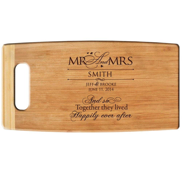 Bamboo Cutting Board - And So Together They Lived Happily Ever After