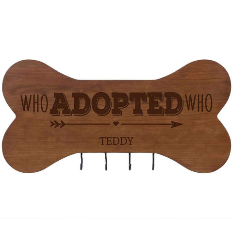 Personalized Dog Bone Sign With Hooks - Who Adopted Who Cherry