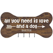 Personalized Dog Bone Sign With Hooks - All You Need Is Love Walnut