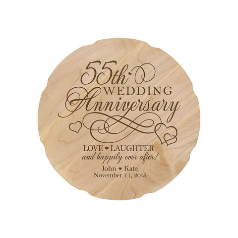 Personalized Wedding Anniversary Engraved Maple Platter 55th Anniversary