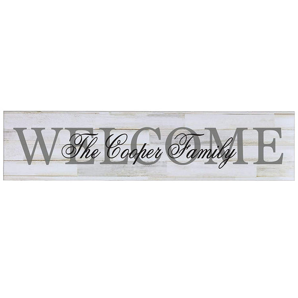 "LifeSong Milestones Family Last Name Welcome Personalized Family Established Wall Signs, Last Name sign for home, Wedding, Anniversary, Living Room, Entryway 10"" H x 40"" L (Distressed White)"