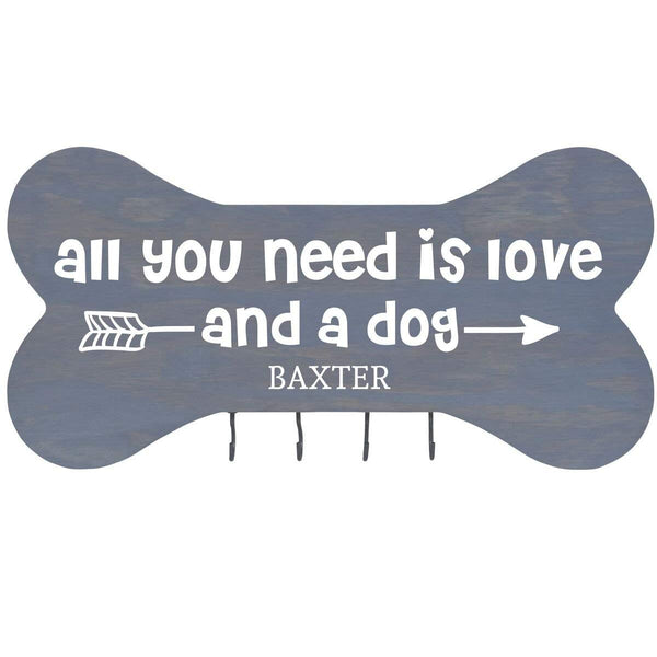"Personalized All you Need is Love Wall Mounted Dog Bone Pet Leash Rack,Dog Collar Holder New Home Decor Gift ideas and 4 hooks 16"" L x 8"" H 2.5."" deep by Rooms Organized"