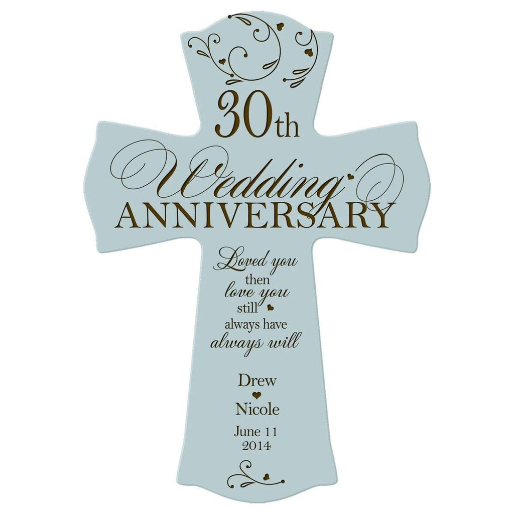 Personalized 30th Wedding Anniversary Wall Cross Gift For Couple 30