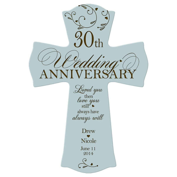 Personalized 30th Anniversary Engraved Wall Cross - Our Love Story Blue