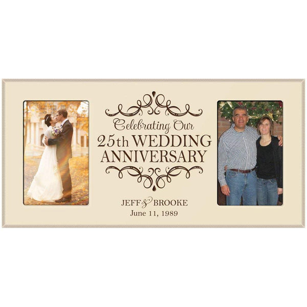 25th Anniversary Gift Personalized 25th wedding anniversary picture frame Celebrating Our 25th wedding anniversary with Couples names and anniversary dates