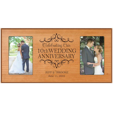 10th Anniversary Picture frame Gift Personalized 10th wedding anniversary with Couples names and anniversary dates