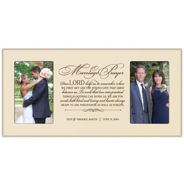 LifeSong Milestones Personalized wedding gift picture frame for Bride and Groom, for parents Marriage Prayer holds 2 4x6 photos
