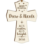 Personalized Christmas Cross Decor - All Is Calm Ivory