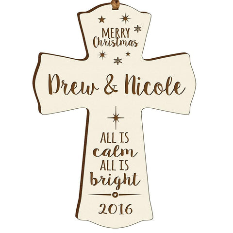 Personalized Christmas Cross Decor - All Is Calm