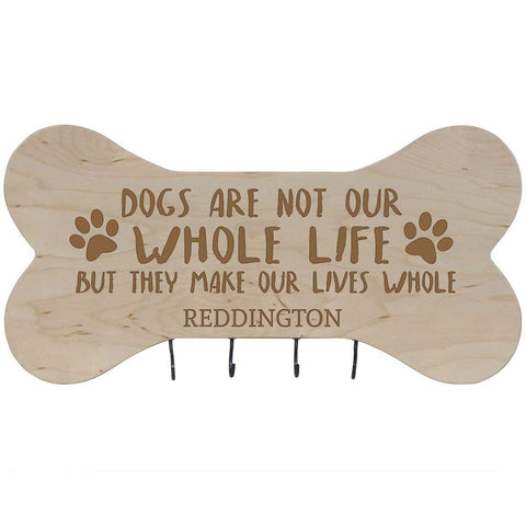 Personalized Dog Bone Sign With Hooks - Dogs Are Not Maple