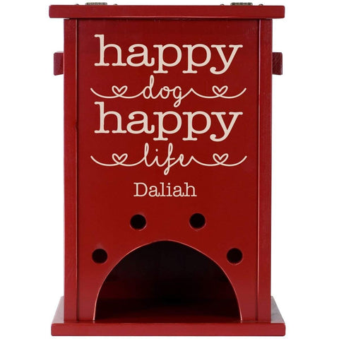 Personalized Pine Pet Toy Box - Happy Dog Happy Life Red