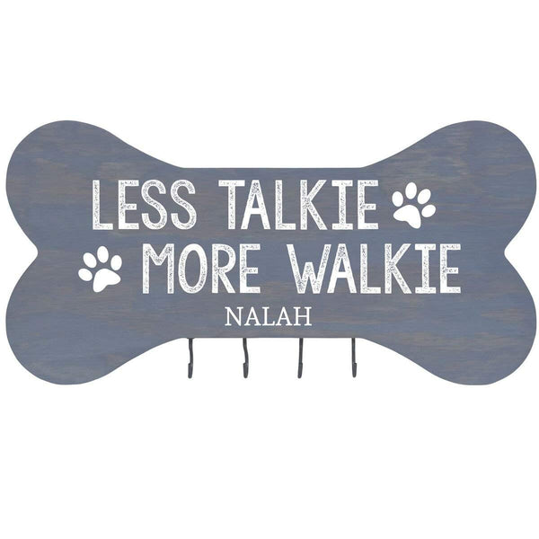 "Personalized Less Talkie More Walkie Wall Mounted Dog Bone Pet Leash Rack,Dog Collar Holder New Home Gift ideas and 4 hooks 16"" L x 8"" H 2.5."" deep by Rooms Organized"
