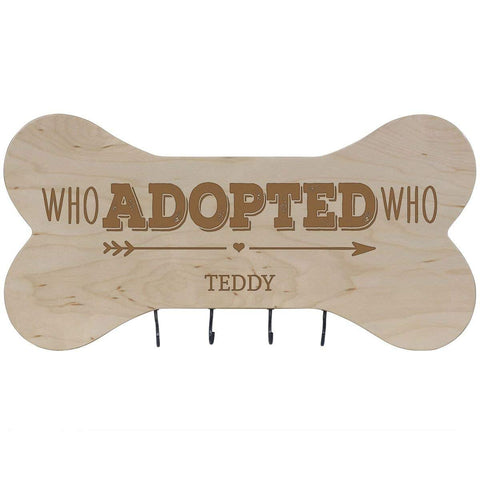 Personalized Dog Bone Sign With Hooks - Who Adopted Who Maple