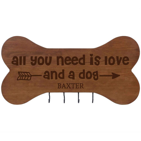 Personalized Dog Bone Sign With Hooks - All You Need Is Love Cherry