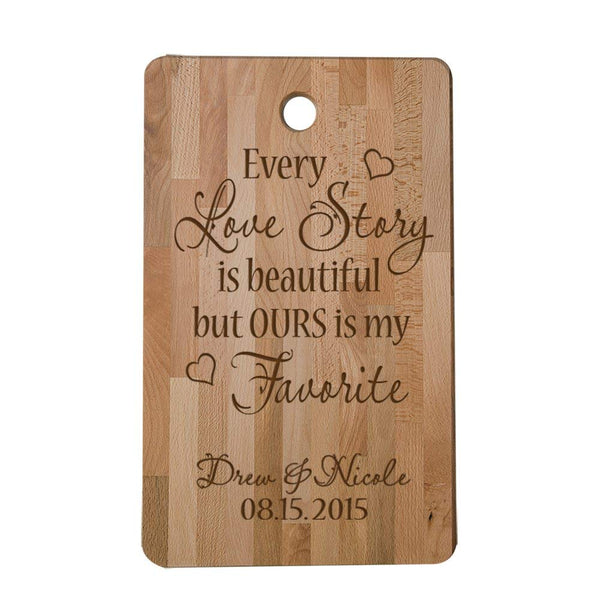 LifeSong Milestones Personalized Custom Laser Engraved Cutting Board Every Love Story Is Beautiful but Ours Is My Favorite,Custom Bamboo Cutting Board