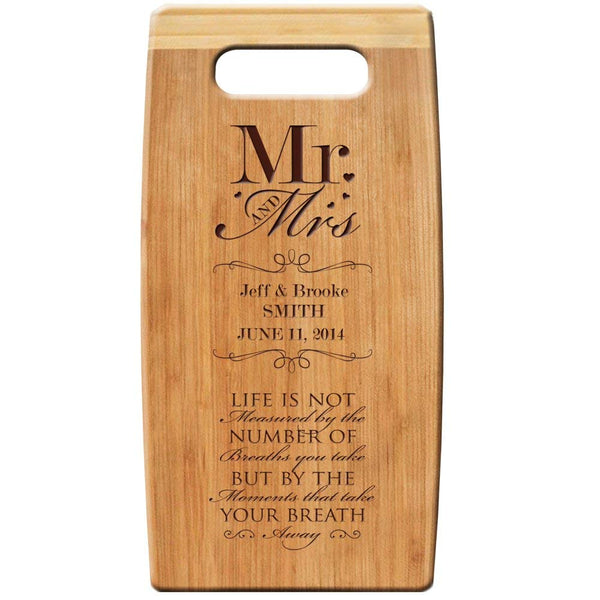 "Personalized Bamboo Cutting Board, Engraved "" Mr and Mrs Moments That Take Your Breath Away "" 7""x 14"" for Wedding Gift, Anniversary Gift, Housewarming Gift"