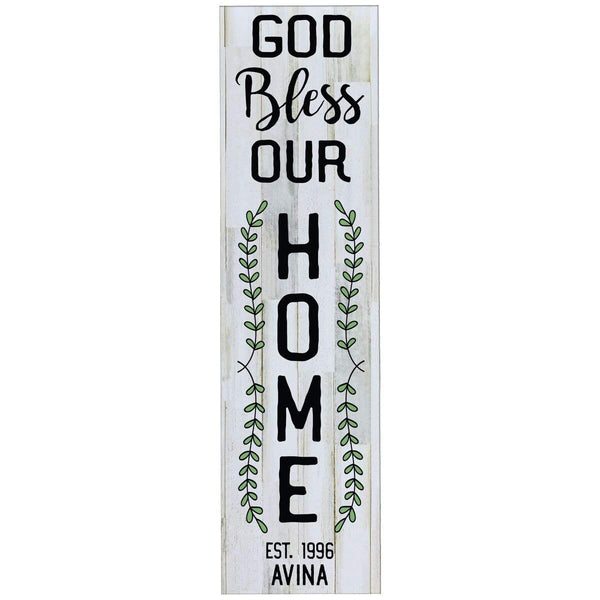 Personalized Home Decor Wall Plaques - Distressed White God Bless Our Home