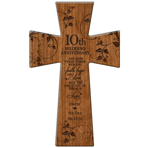 "Personalized 10th Wedding Anniversary Gift Faith Hope and Love Wall Cross 12"" x 17"" Made of Cherry Wood in USA Esclusively from LifeSong Milestones"