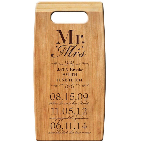 "Personalized Bamboo Cutting Board, Custom Engraved "" Mr and Mrs When He Stole Her Heart.. and Popped the Questions.. and She Stole His Last Name"" 7""x 14"" Wedding Anniversary Gift"