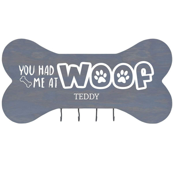 "Personalized You Had Me at Woof Wall Mounted Dog Bone Pet Leash Rack,Dog Collar Holder New Home Decor Gift ideas and 4 hooks 16"" L x 8"" H 2.5."" deep by Rooms Organized (Classic Grey)"