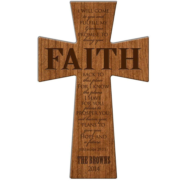 "Personalized Wedding Gift ""Faith Cross For I know the plans I have for you ...Jeremiah 29:11"" Personalized Wall Cross Made of Cherry Wood in USA Esclusively from LifeSong Milestones"